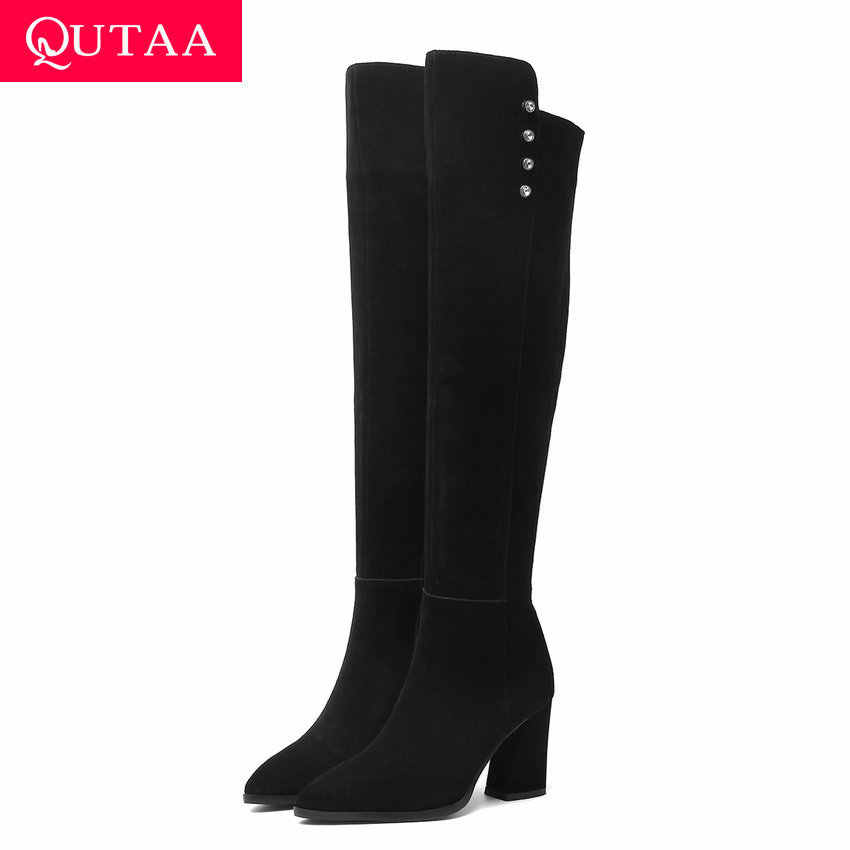 QUTAA 2020 ผู้หญิงเข่าสูงรองเท้าหนังนิ่มฤดูหนาวรองเท้าสแควร์รองเท้าส้นสูงชี้ Toe Zipper ผู้หญิงรองเท้าขนาด 34-40