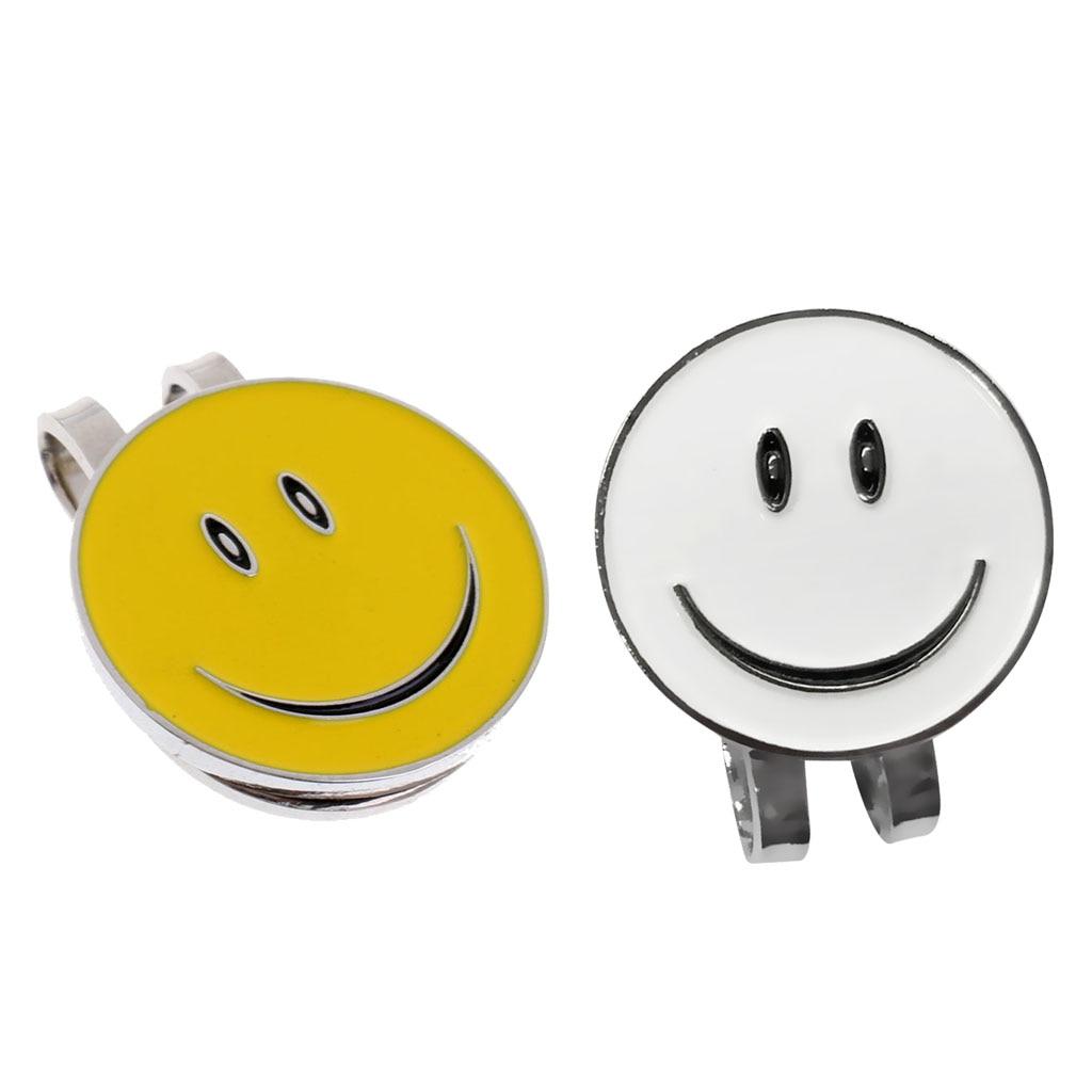 2 Pcs Novelty Smiling Face Magnetic Hat Clip Golf Ball Marker Clip