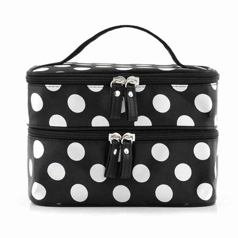 ABZC- Black Travel Cosmetics Make Up Bags Beauty Womens Organiser Toiletry Purse Handbag Polka Dots Design Gift