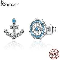 BAMOER 100% Popular 925 Sterling Silver & Leme Azul Cristais Stud Brincos Mulheres Barco Moda Elemento Jóias SCE030