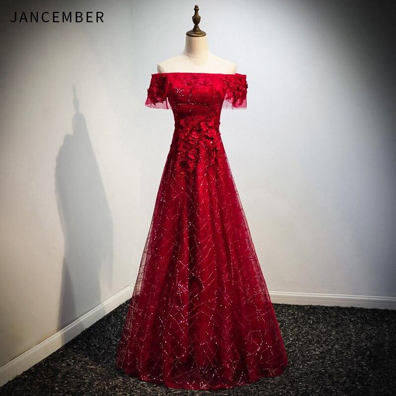 WLN18453 JANCEMBER sexy robe de soirée col bateau à lacets dos Appliques épaules nues longueur de plancher robe rouge vestidos de cerimónia