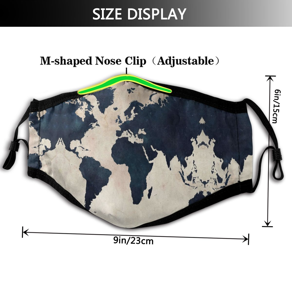Image 2 - World Map Mouth Face Mask World Map Distressed Navy Facial Mask Fashion Funny with 2 Filters for AdultMens Masks   -