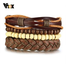 Bracelets-Set Jewelry Wooden Vnox Beads-Rope Bohemia Women for Holiday Vintage Pulseira