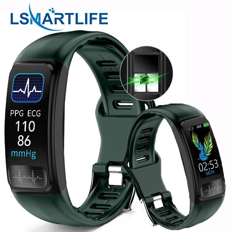 P12 ЭКГ PPG смарт-браслет измерение артериального давления пульса смарт-Браслет спортивный IP67 Водонепроницаемый фитнес-трекер Браслет