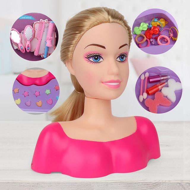 Fashion Princess Styling Head Doll Toy With Hair Clip Brush Beauty Makeup Accessories Pretend Play Toys For Girls 1