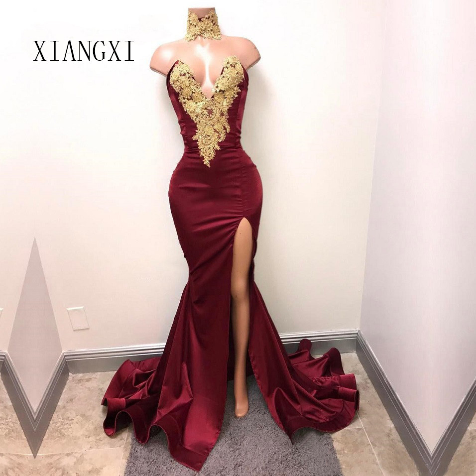 Mermaid Prom Dresses Deep V Neck Burgundy Long High Split Dress for Formal Party Lace Appliques Evening Gowns