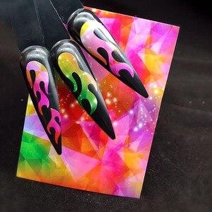 Image 3 - הולוגרפית צבעוני נייל רדיד להבה Holo נייל אמנות העברת עצמי דבק להבה נייל מדבקות שקופיות נייל אמנות מדבקות