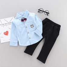 New Gentleman Style Bow Tie Decoration Boy Set Solid Color Shirt Striped Pants Childrens 0-4T Baby Clothes