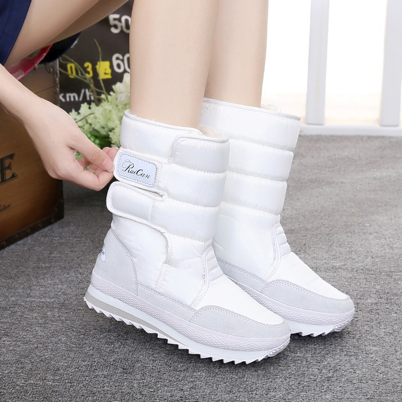 Snow boots women shoes 2020 hook & loop mid calf women winter boots round toe solid warm plush shoes woman zapatos de mujer Mid-Calf Boots    - AliExpress