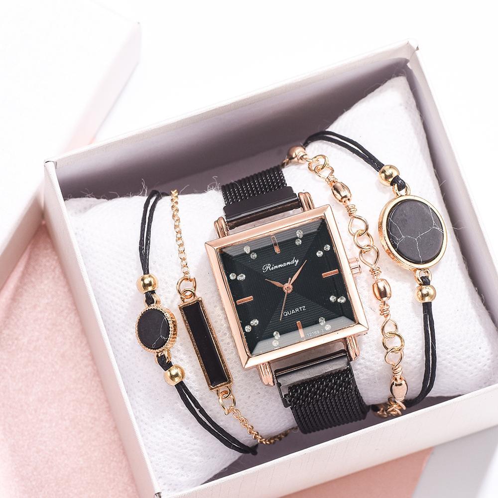 New Style 5pcs Women Watch Set Magnet Rhinestone Square Watch Ladies Dress Quartz Wristwatch Bracelet Black Clock Relogio