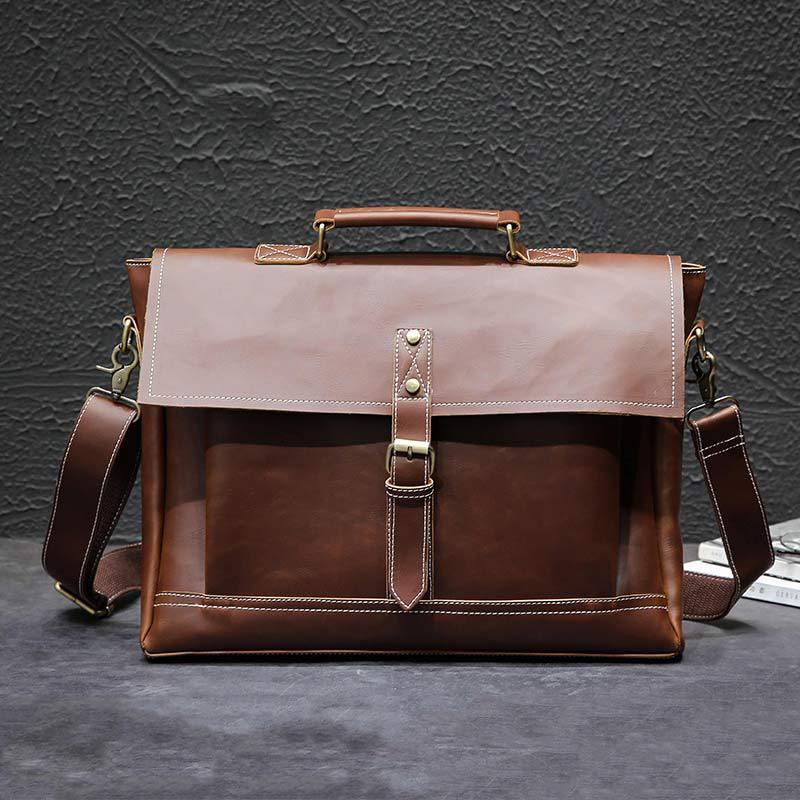 Vintage Men's Bag Crazy Horse PU Leather File Briefcase Men Messenger Bags Fashion Shoulder Crossbody Bags Laptop Handbag