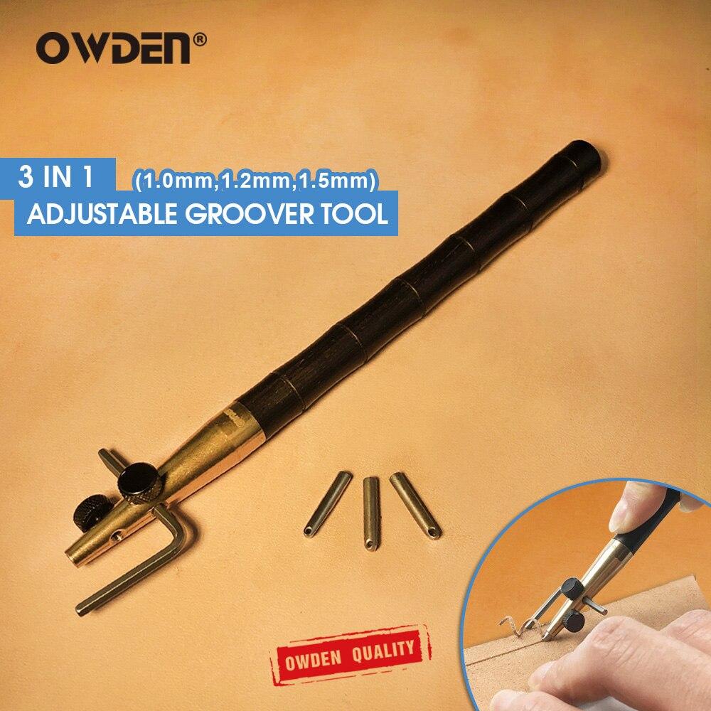 OWDEN 3 в 1 регулируемый инструмент для кожевенного ремесла (1,0-1,2-1,5 мм) набор «сделай сам» инструмент для сшивания и сгибания кожевенный инстру...