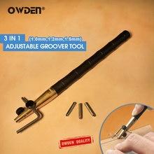 Owden 3 em 1 ofício de couro ajustável groover ferramenta (1.0-1.2-1.5mm) definir diy costura vinco edger ferramenta de couro