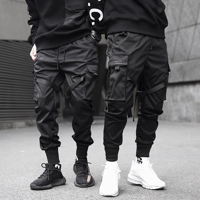 Joggers Harajuku Ribbon Cargo-Pants Pockets Hip-Hop-Trousers Harem Color-Block Black