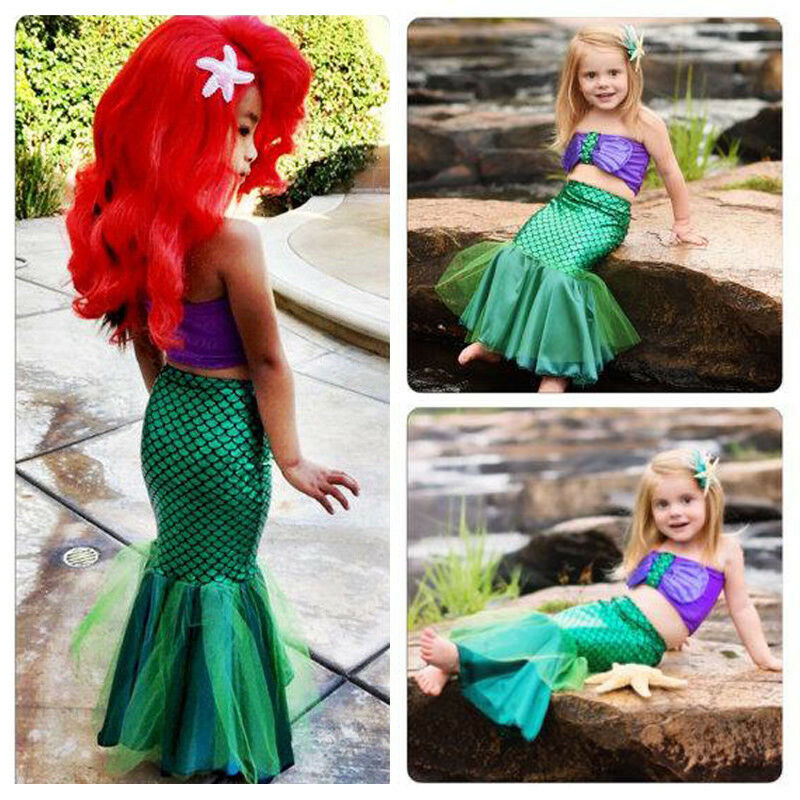 Pudcoco Toddler Baby Girl Clothes Princess Mermaid Tails Swimwear Swimsuit Swimmable Dress Costume Clothes