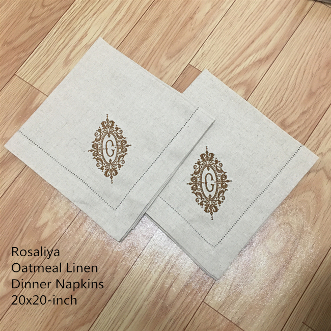 Set Of 12 Fshion Monogrammed Napkins Hemstitch Oatmeal Dinner Napkins 50*50 CM Color Embroidered Initial C Tea Napkins