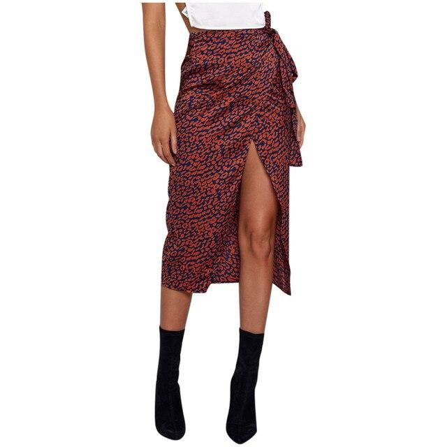 Female High Waist Bandage Leopard Printing Wrap Satin Bow Sexy Split Skirts faldas mujer moda юбки женские кожаная юбка 4
