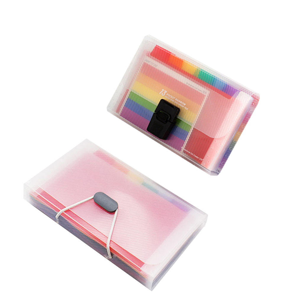 Hot A6 Document Bag Cute Rainbow Color Mini Bill Receipt File Bag Pouch Folder Organizer File Holder Office Supply