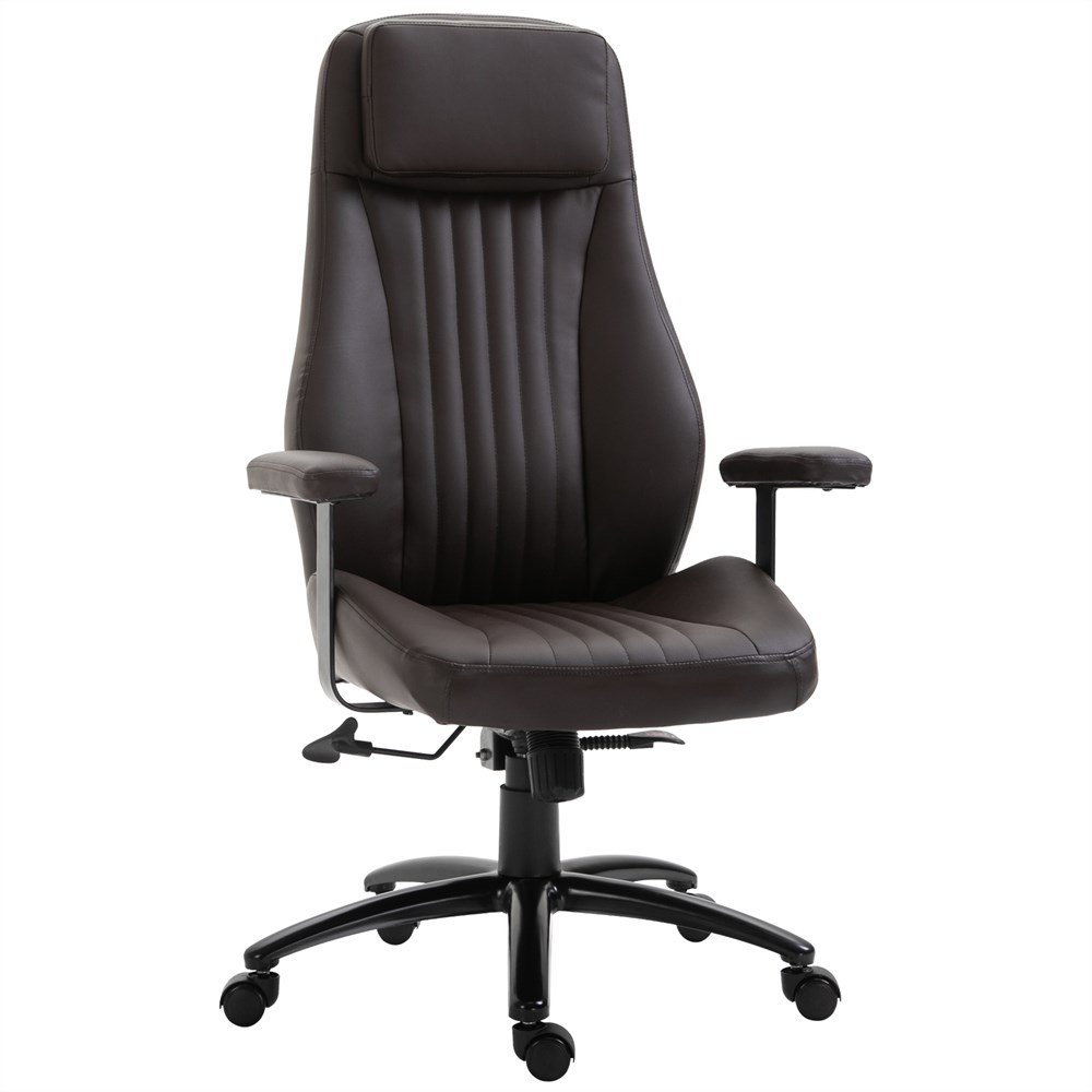 Vinsetto Ergonomic Office Chair And Adjustable Brown Faux Leather Lumbar Support 70cm X 70cm X 116-123.5cm