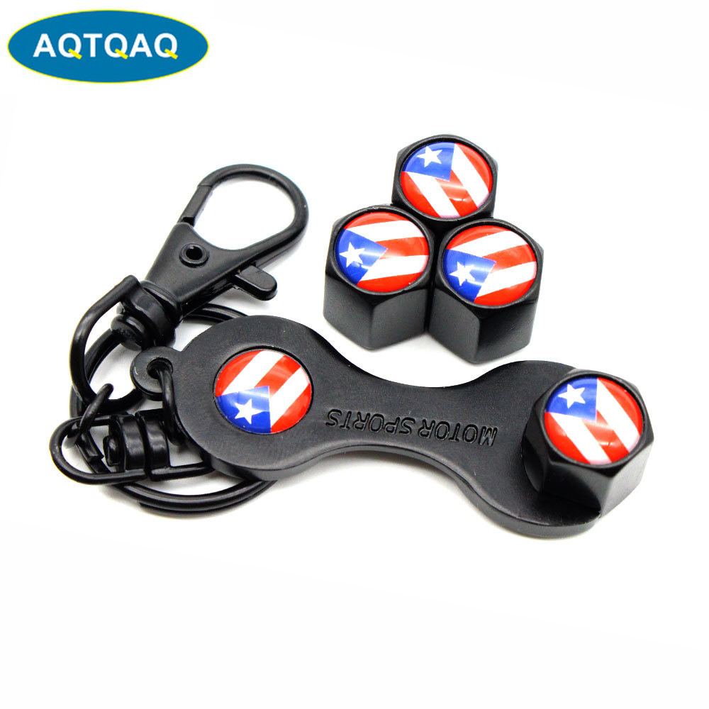 5Pcs/Set Puerto Rico Flag Style Anti-theft Emblem Auto Car Wheel Tire Air Valve Caps With Wrench Keychain Zinc Alloy Stem Dust C