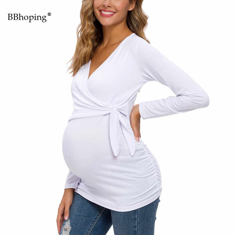POSHGLAM Womens Maternity Shirts Clothes Cute V-Neck Pregnancy Tops with Adjustable Side Tie Bow