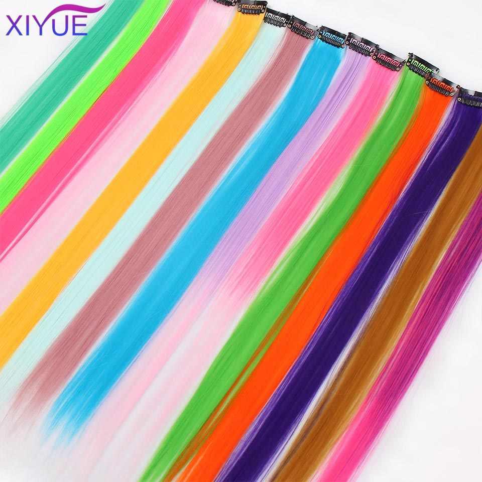 مشبك شعر مستقيم ملون في قطعة واحدة طويلة 20 بوصة ملونة مقاومة للحرارة الاصطناعية تمديد الشعر قوس قزح ستراند