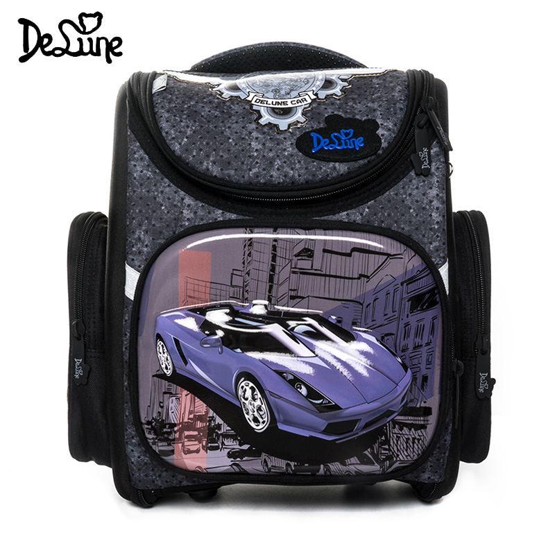Delune 2019 New Cartoon School Bags Backpack for Boys Cars Design Children Orthopedic Backpack Girls Mochila