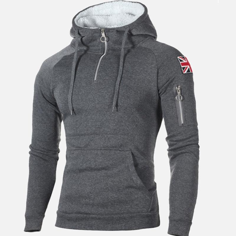 Winter Hooded Fleece Thicken Mens Sweatshirt Zipper Badge Pockets Patchwork Male Hoody 2020 Casual Solid Warm Man Pullover Tops