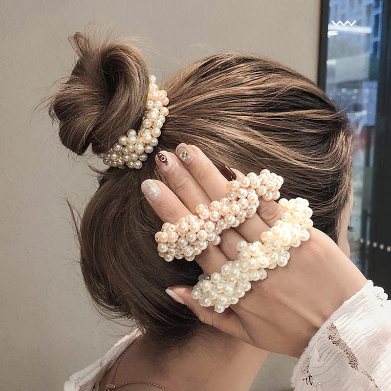 Girls Scrunchies Ponytail-Holders Rubber-Bands Beads Hair-Accessories Pearl Elastic Elegant