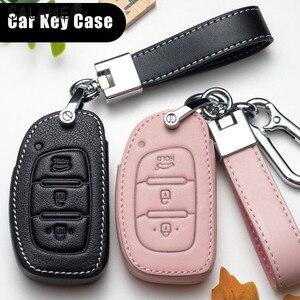Image 1 - Lederen Auto Key Case Voor Hyundai IX30 IX35 IX20 Tucson Elantra Verna Sonate Voor Auto Cover Sleutelhanger Bescherm Tas Accessoires