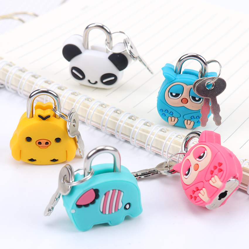 1PC Creative Cartoon Kawaii Animals Luggage Bag Metal Lock Journal Diary Book Lock File Holder Accessories