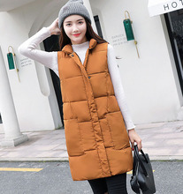 Womens vest Winter long sleeveless waistcoat Casual solid stand collar big pocket zipper cotton padded Vest jacket coat