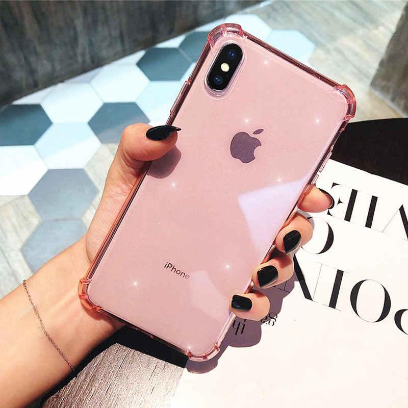 Lovebay עבור iPhone 11 טלפון מקרה גליטר עמיד הלם עבור iPhone 7 8 6 6s בתוספת 11 פרו X XR XS מקס שקוף רך TPU חזרה כיסוי