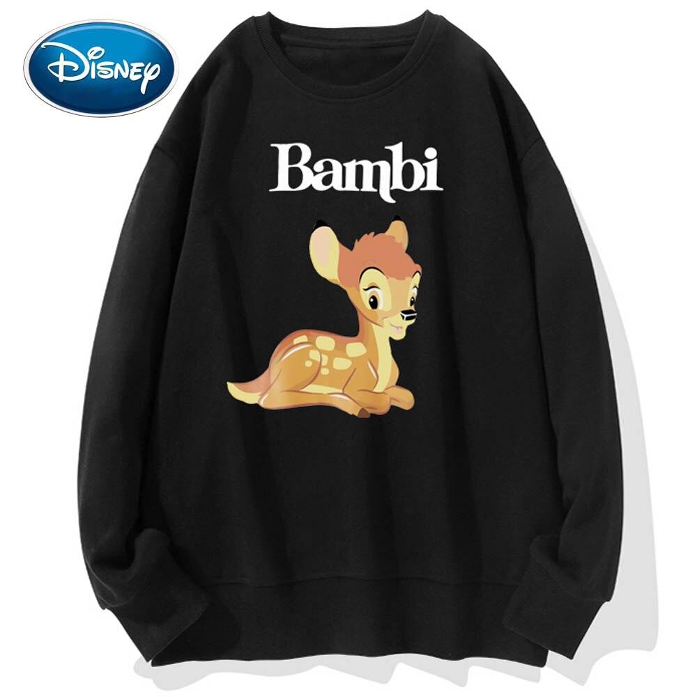 Disney Sweatshirt Bambi Deer Cartoon Print Cute Couples Unisex Women Sweatshirt O-Neck Pullover Long Sleeve Tops S - 3XL 9 Color