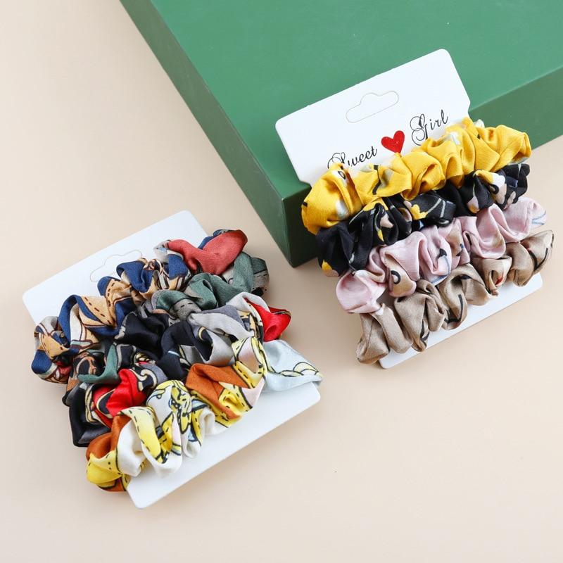 4Pcs/Lot Leopard Printed Scrunchies Women Elastic Hair Bands Ponytail Holder Ties Gum For Girls Hair Accessories Hair Rings Set