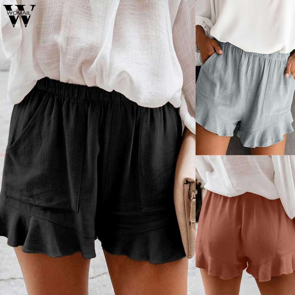 Womail Womens Short 2020 Summer Women Short Ruffled Sexy Elastic Waist Casual Pocket Beach Loose Hot Shorts Women Short Feminino