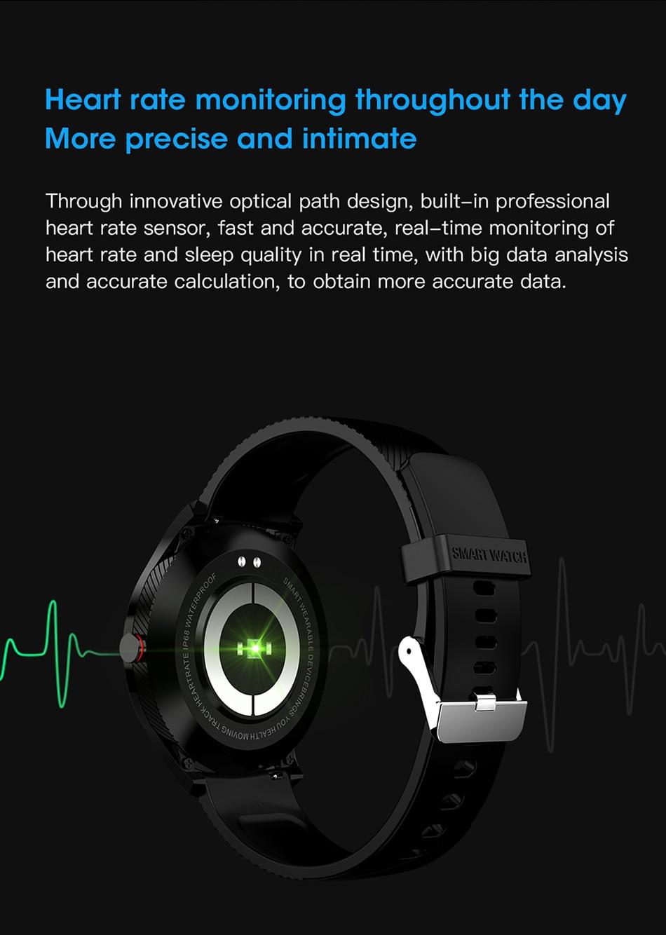 Le Jeune moderne.Montres connectées-Montre connecté L9 écran tactile, rythme cardiaque, étanche, notifications-Montre connectée tendance.Notifications d'appels en liaison avec votre téléphone. Rythme cardiaque et suivi d'activité physique.