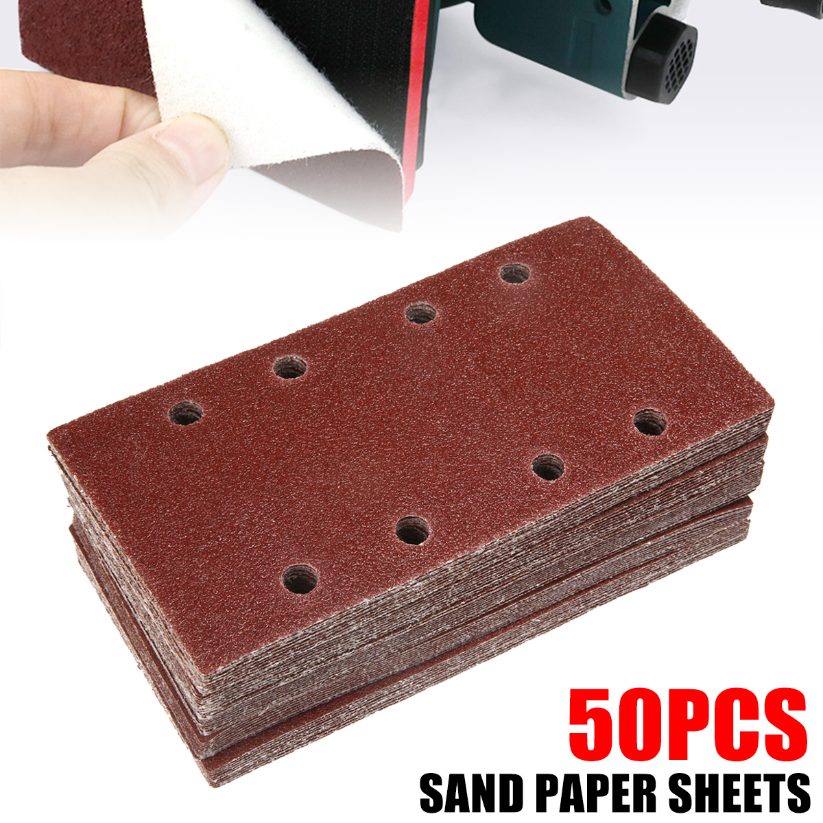50pcs/lot 40-120 Grit 8 Holes Rectangle Sanding Paper Sheets Brown Sandpaper Grit For Swing Grinder Polishing Tools 185*93mm