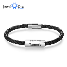JewelOra Personalized Engraving 1-4 Names Stainless Steel Wristband Bracelets Black Braided Leather Bracelets for Men Gifts mkendn new design braided genuine leather bracelets men stainless steel airplane anchor bracelets female friendship gifts