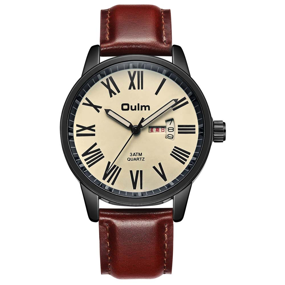 Man Watch 2018 OULM Watches Fashion Blue Watch Luxury Waterproof Quartz Mens Watches Mens Wristwatch Leather reloj para hombre