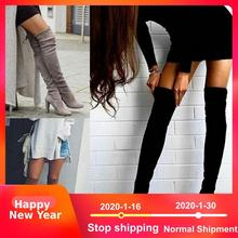 Купить с кэшбэком Loecktty Plus Size 34-43 2018 New Shoes Women Boots Black Over the Knee Boots Sexy Female Autumn Winter lady Thigh High Boots