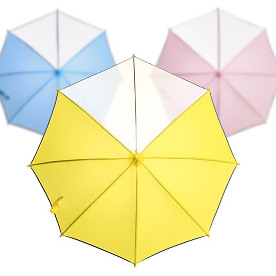 Transparent Long poignée parapluie enfants bande réfléchissante sûr jaune enfants pluie parapluie clair mignon enfants cadeau vêtements de pluie R014