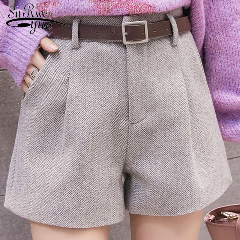 Autumn And Winter 2019 New Korean Version Women Shorts Casual High Waist Shorts Sashes Pockets Wide Leg Women Shorts 5636 50