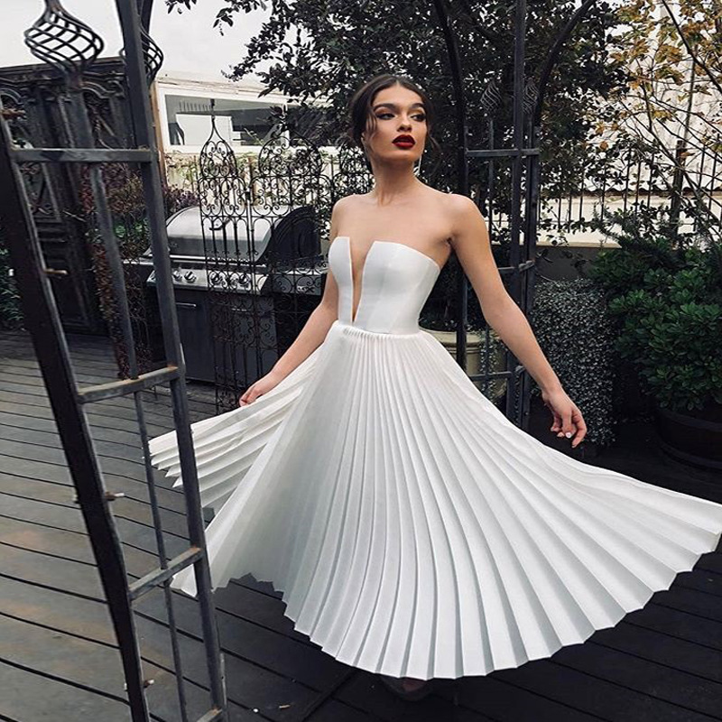 Simple Wedding Dresses 2019  Deep V Neck Wedding Bridal Dress Pleated Elegant Bridal Gown In Stock
