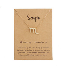 Hot 12 Constellation Scorpio Pendant Necklaces Virgo Necklace Birthday Gifts Message Card for Women Girl Jewelry цена