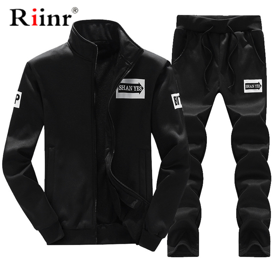 Riinr 2019 Fashion New Arrival Sporting Suit Men Spring Brand Casual Hoodies Two Pieces Set Sweatshirt+Sweatpants Mens Tracksuit