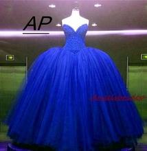 ANGELSBRIDEP nowy przyjeżdża Royal Blue Sweet 16 suknia balowa suknie Quinceanera iskrzenie frezowanie gorset tiul formalna suknia debiutantowa tanie tanio Długość podłogi Off the Shoulder Bez rękawów Quinceanera sukienki X-DC863 Akrylowe Kochanie Tulle