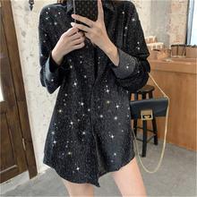 Черная блестящая бархатная рубашка с принтом Женская Осенняя
