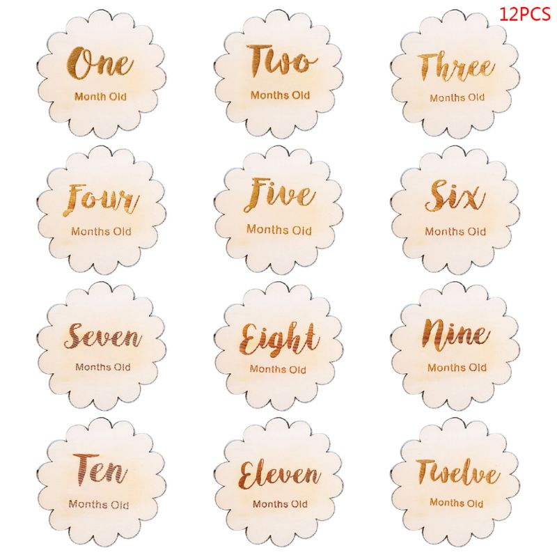 12 Pcs/set Nordic Style Baby Birth Month Number Birthday Commemorative Milestone Card Newborn Full Moon Photography