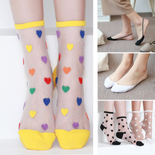6-2pair Summer Silk Cotton Socks Women Ladies Girl Transparent Ultra-thin Mesh Nylon Socks Funny Multi Style Lace Sox Print Art